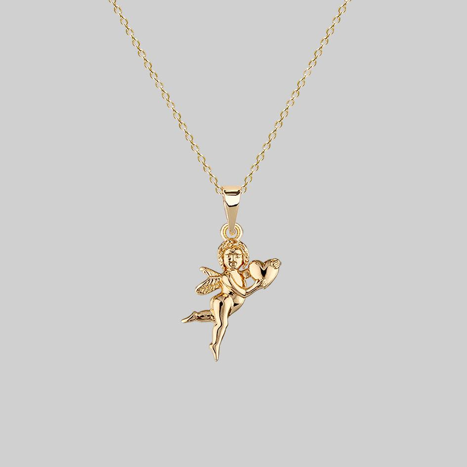 gold cherub necklace with heart