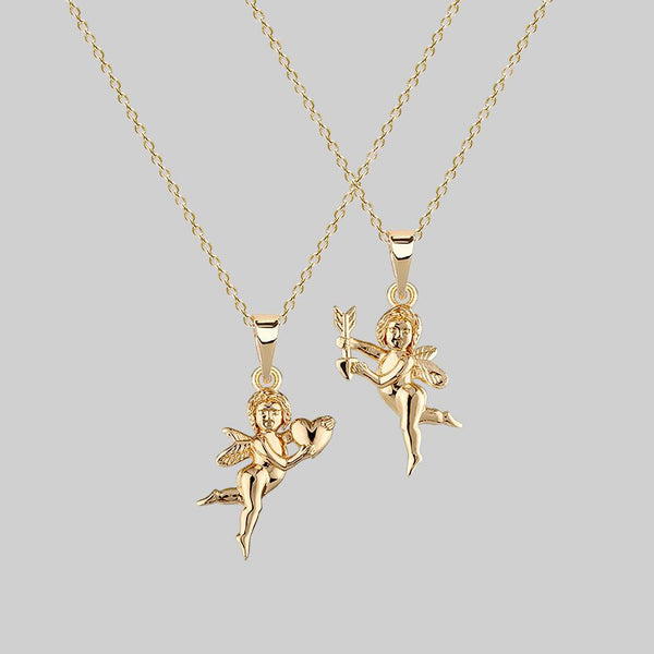 Cupid & Psyche Lovers Layering Necklace - Gold