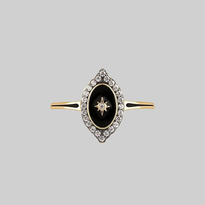 REVERENCE. Oval Black Enamel Crystal Gold Ring