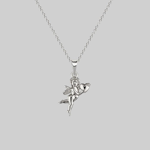 silver cherub necklace with heart