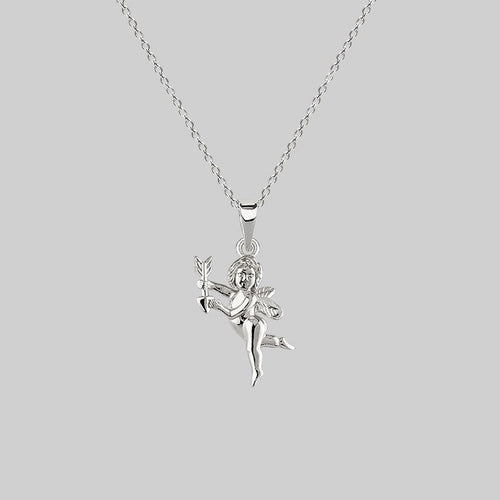silver cupid necklace, love jewellery