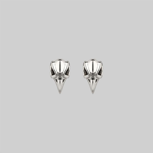 MERLA. Raven Skull Earrings - Silver