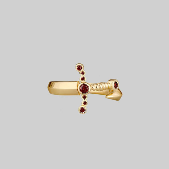 MAJESTY. Garnet Dagger Wrap Ring - Gold
