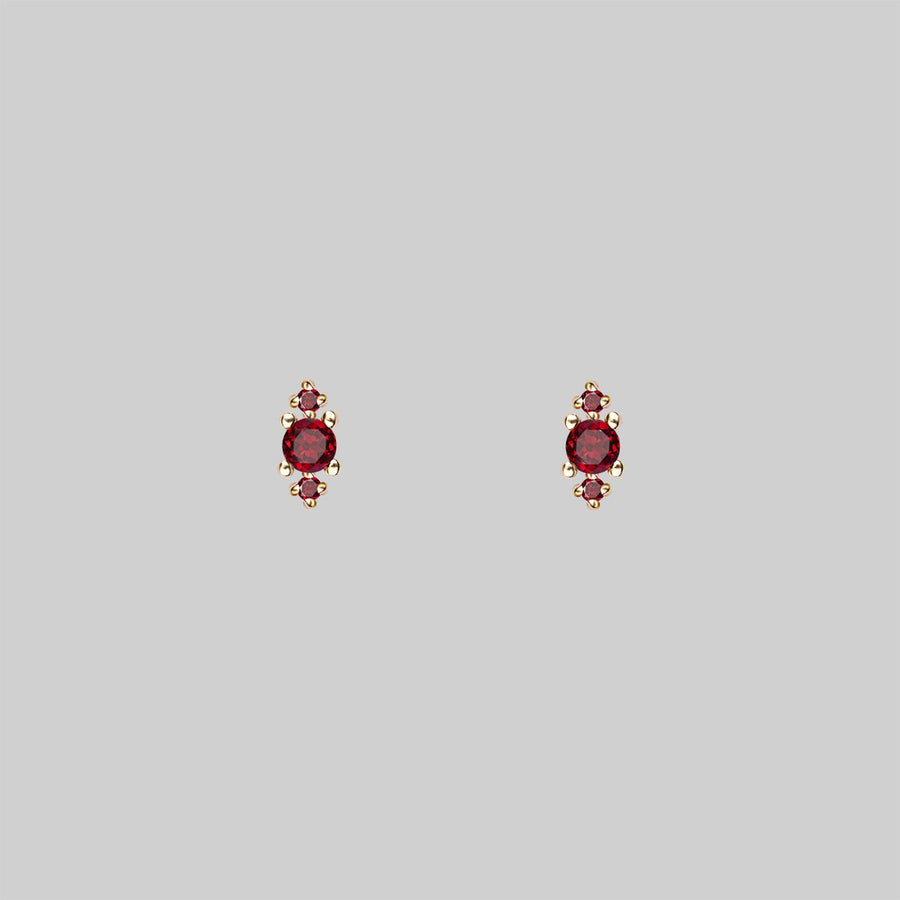 tiny garnet gemstone earrings
