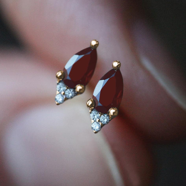 garnet gemstone stud earrings