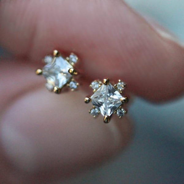 SACCHARINE. Cubic Zirconia Gold Stud Earrings