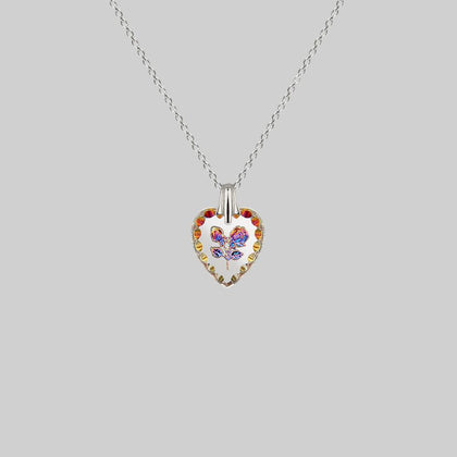 NANCY. Two Roses Engraved Glass Heart Necklace - Silver