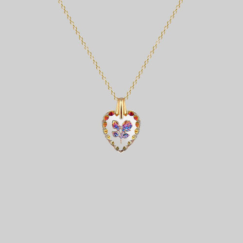 glass iridescent flower heart necklace gold