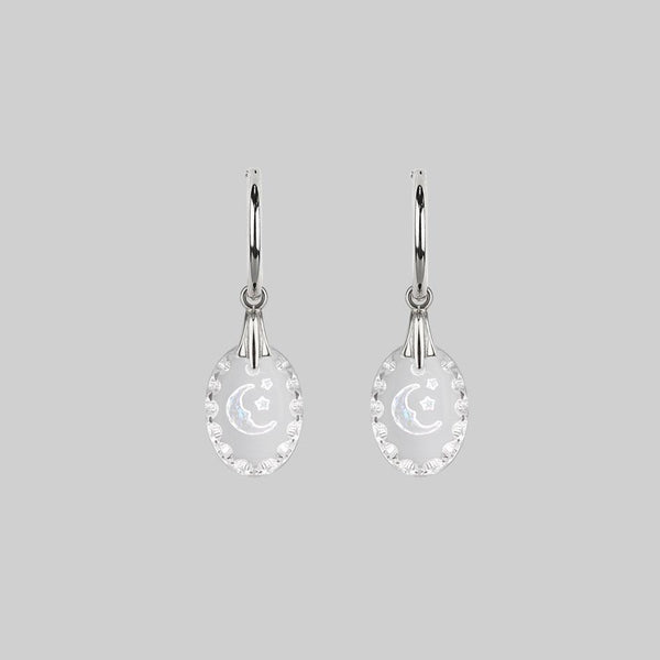 LYRAE. Moon & Stars Glass Earrings - Silver