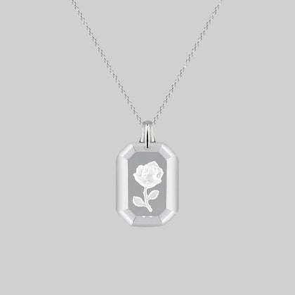 RAPHAEL. Etched Glass Rose Necklace - Silver
