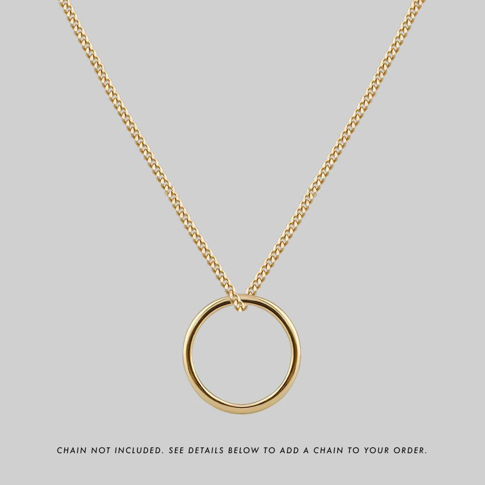 Gold posie ring necklace, long gold necklace chain
