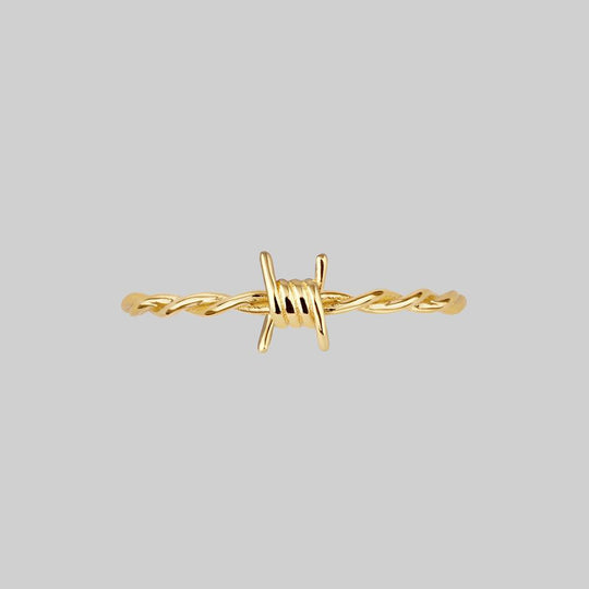 SURVIVAL. Symbolic Barbed Wire Ring - Gold