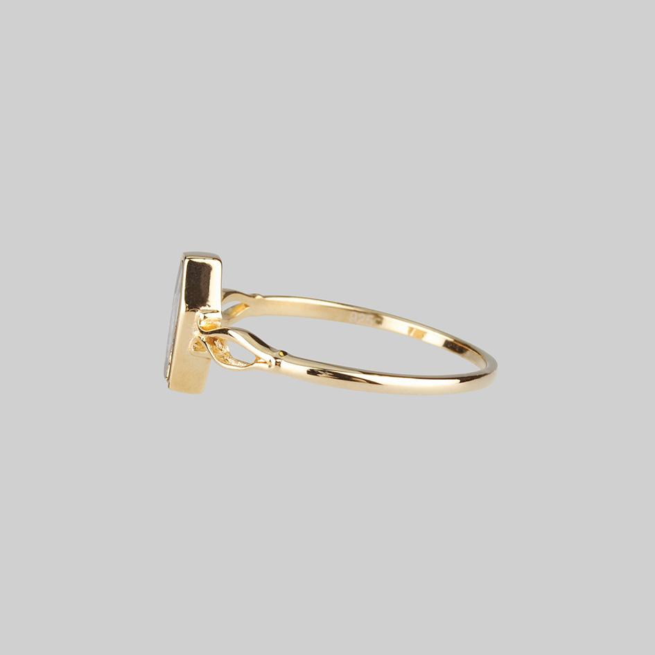MORALITY. Tiny Skeleton Coffin Gold Ring