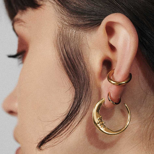GOOD NIGHT. Man in the Moon Crescent Earrings - Gold