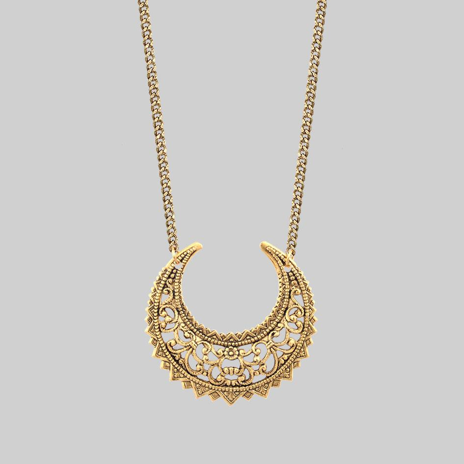 Necklace - EASTERN CRESCENT. Gold Necklace