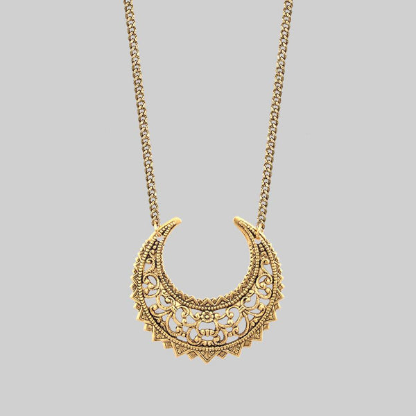 EASTERN CRESCENT. Gold Necklace