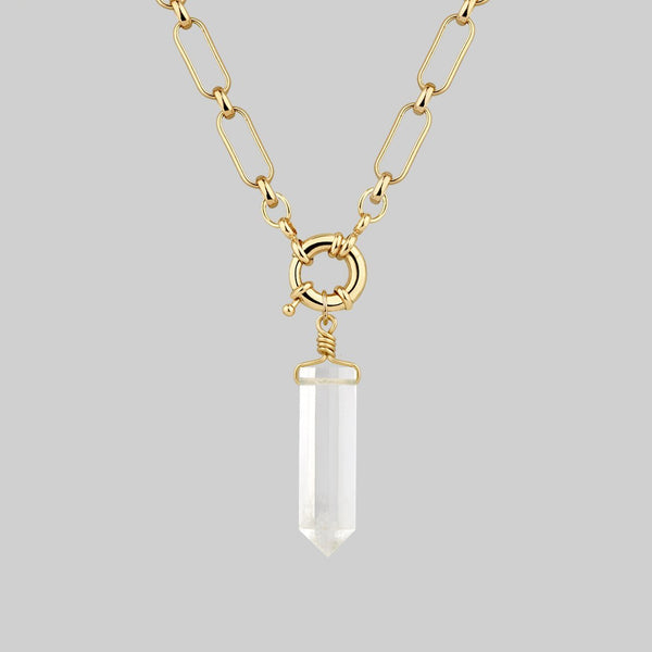 ORA. Clear Quartz Pendant & Clasp Necklace - Gold