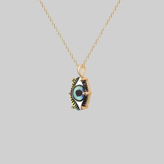 BEHOLD. Iridescent Glass Eye Necklace - Gold