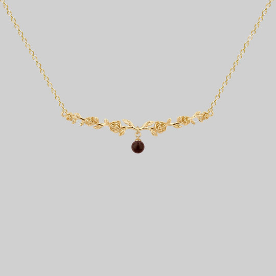 DAMASK. Garnet Rose Foliage Collar Necklace - Gold