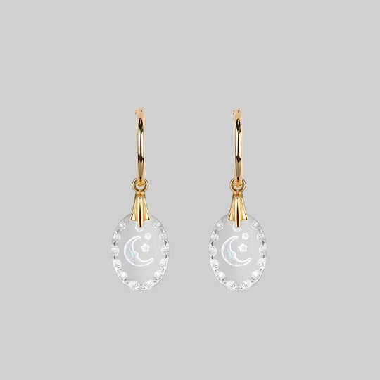 LYRAE. Moon & Stars Glass Earrings - Gold