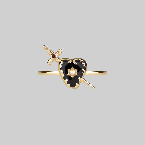 DEVOTION. Black Heart & Sword Gold Ring