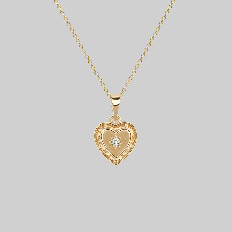 HANGIN HEART. Etched Heart Necklace - Gold