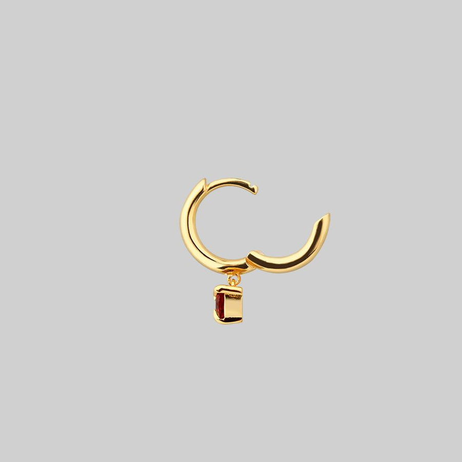 gold hoop earring with love heart