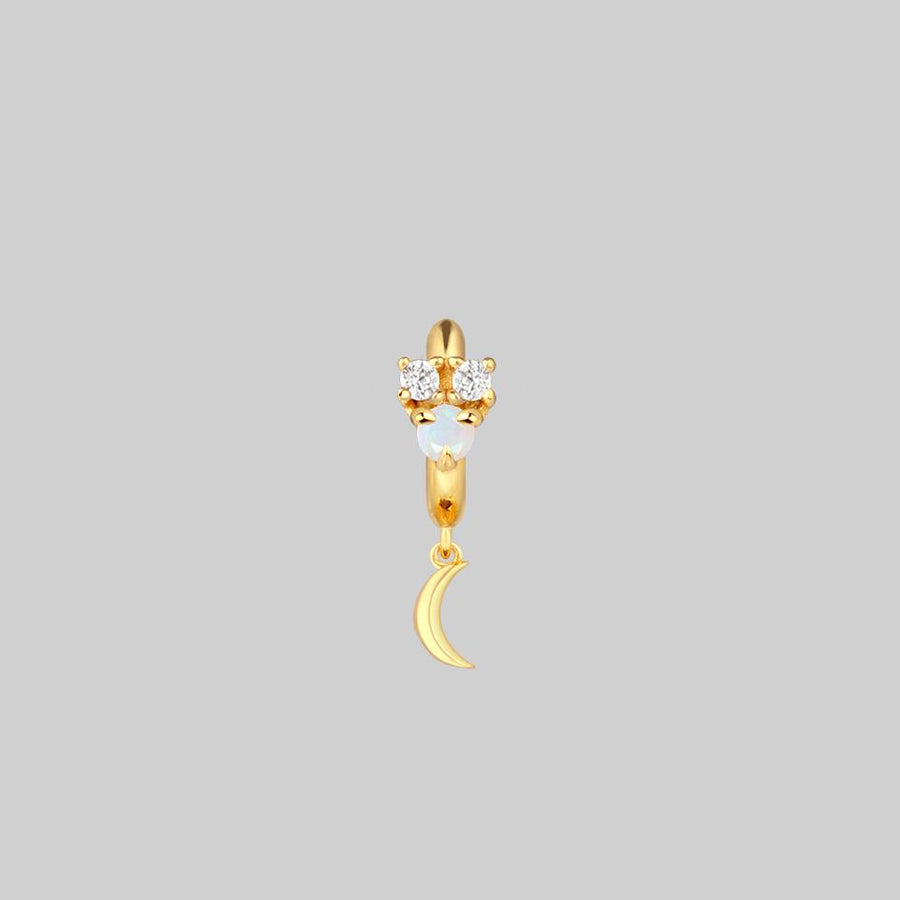 moon and star charm hoop earring gold