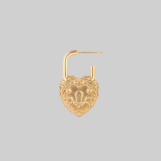 KEEPER. Ornate Heart Padlock Gold Earrings