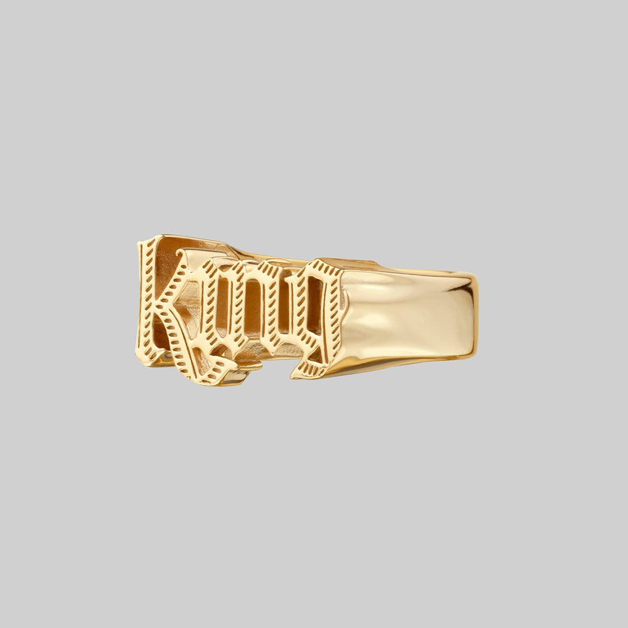 chunky king royal font word ring