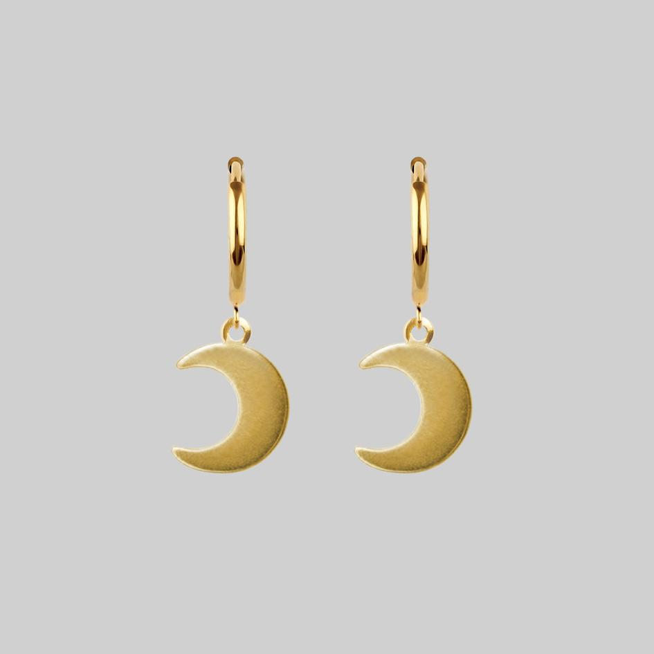 gold moon hoop charm earrings