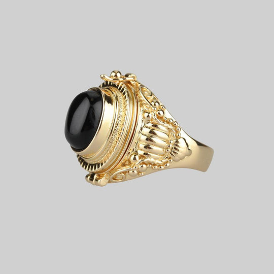 SAROS. Gold Poison Trinket Ring - Onyx