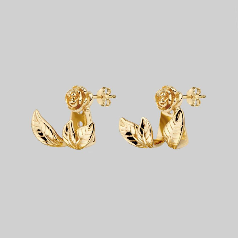 gold rose wraparound earrings