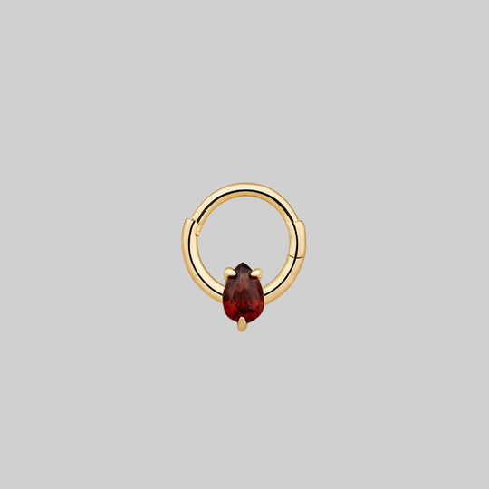 SULTAN. Garnet Gold Clicker Ring - Septum/Daith/Forward Helix