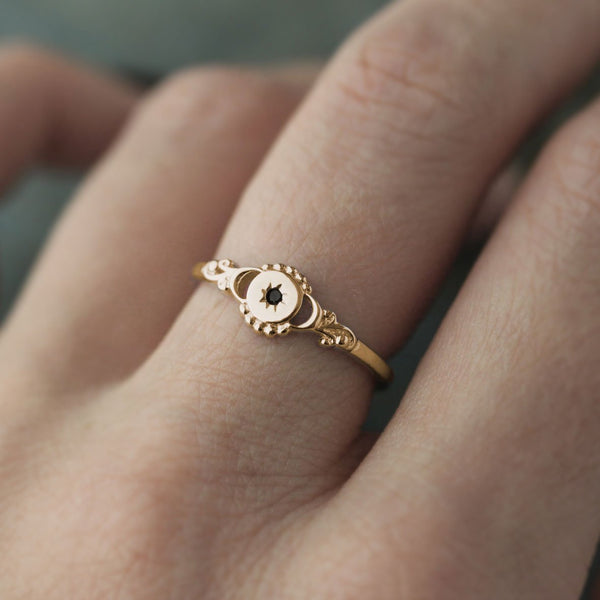 star moon gold ring