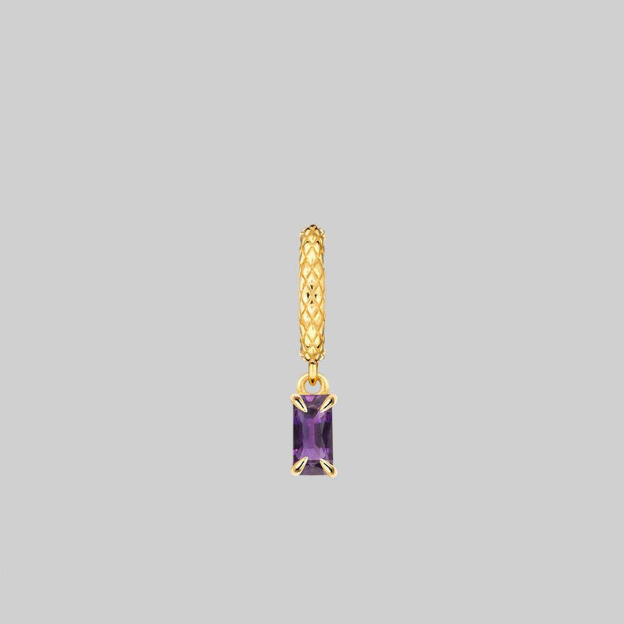 amethyst gemstone hoop earring gold