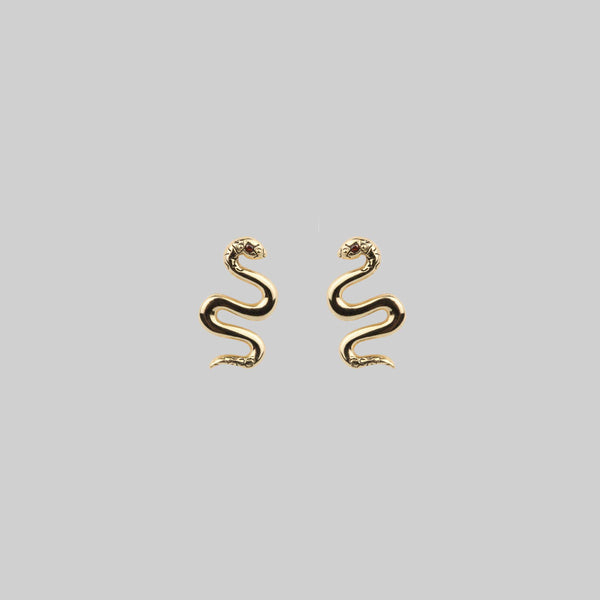DIVINITY. Garnet Snake Gold Stud Earrings