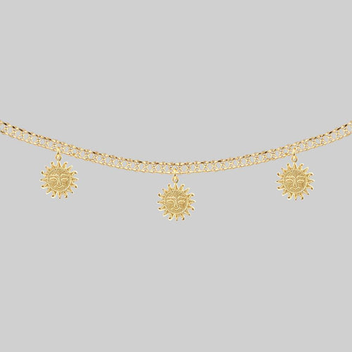 LUMI. Sun Face Multi Charm Collar Necklace - Silver