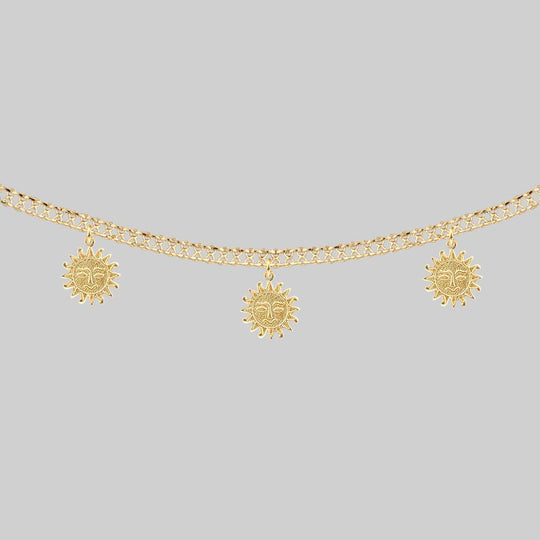 LUMI. Sun Face Multi Charm Collar Necklace - Gold