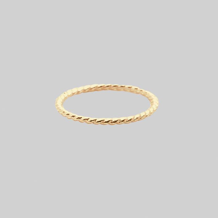 Gold Twisted Midi Ring - 14K Gold plated