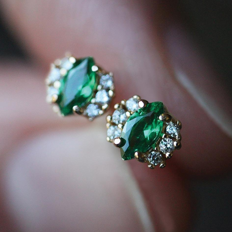 TALIA. Green Quartz Cluster Stud Gold Earrings
