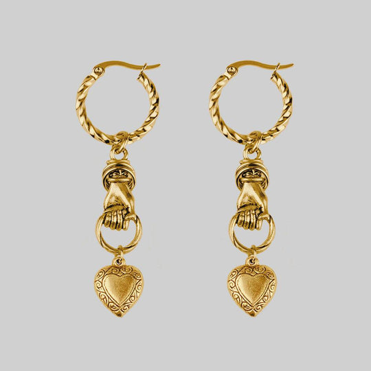 ALL OF ME. Hand Grasping Heart Single Earring - Gold