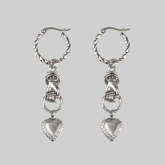 ALL OF ME. Hand Grasping Heart Single Earring - Silver