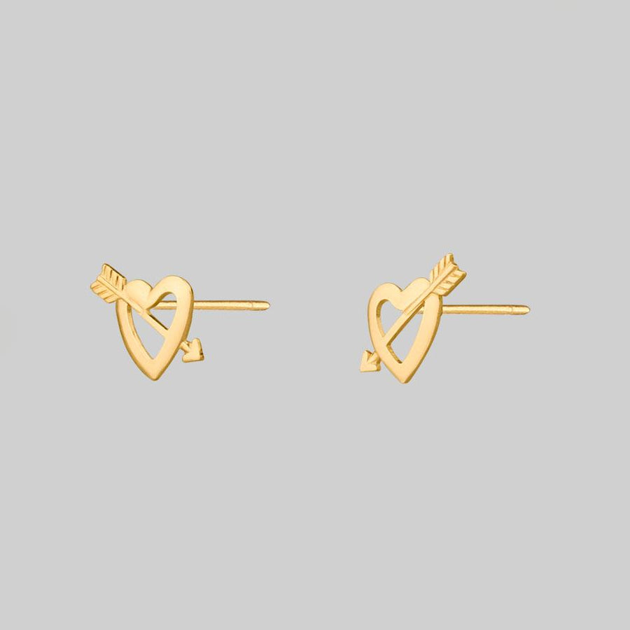 gold heart stud earring jewellery