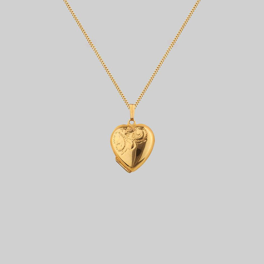 9k gold detailed heart locket necklace