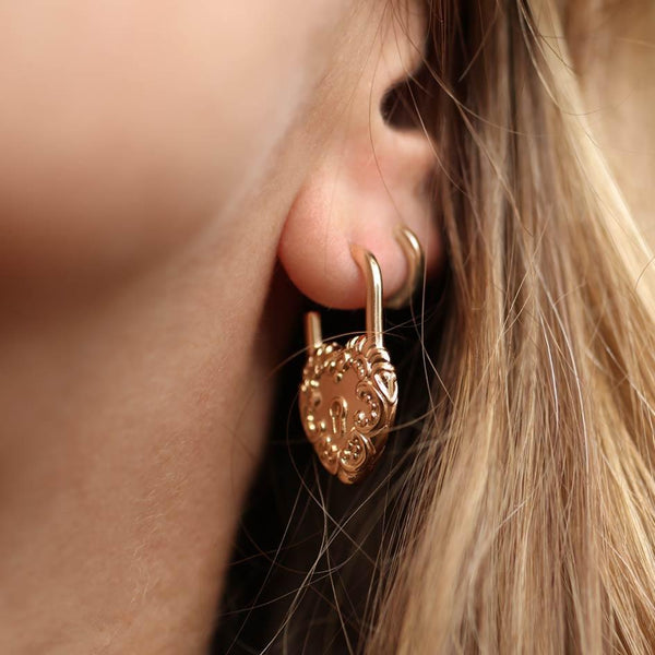 gold padlock earrings