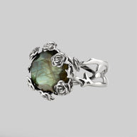huge gemstone ring, silver floral ring