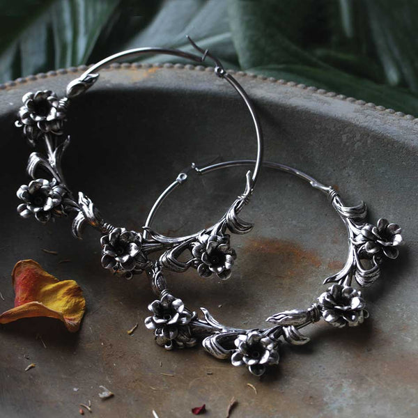 LAVISH. Wild Rose Hoop Earrings - Silver