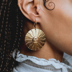 statement gold sun earrings