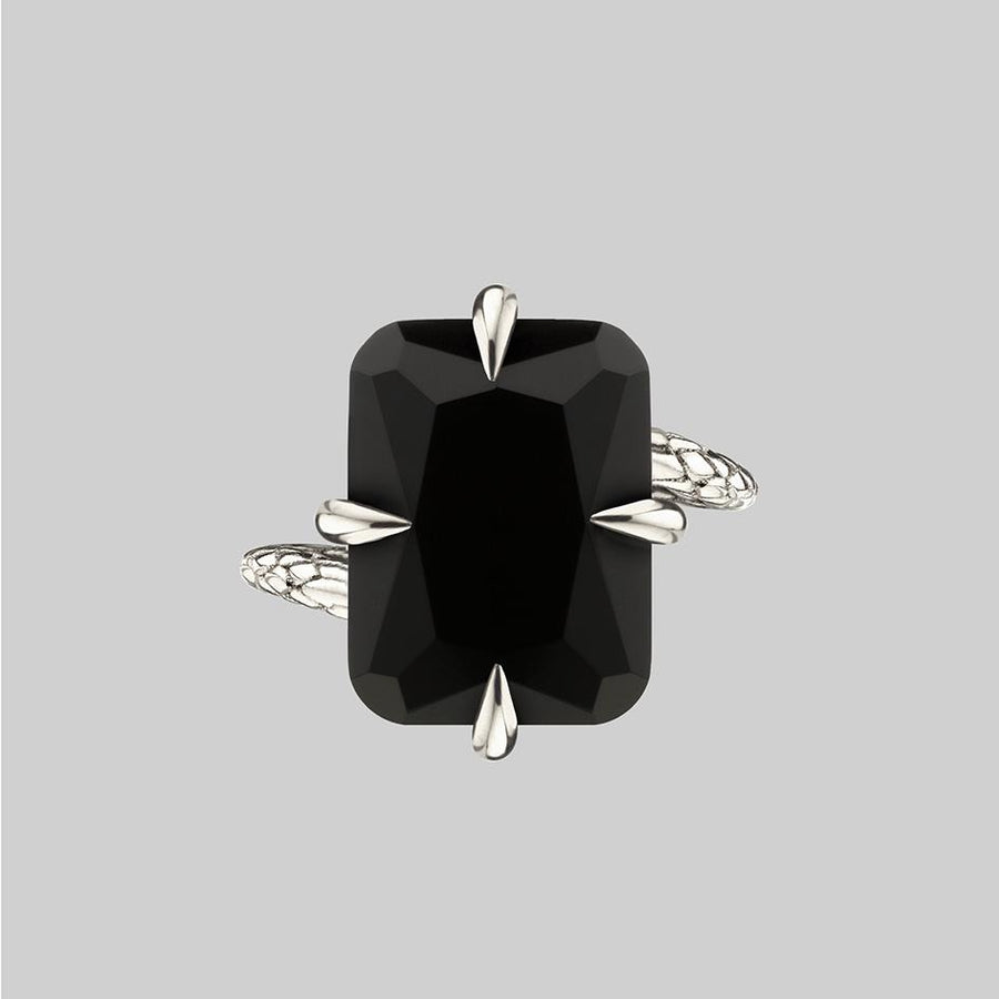 black onyx sterling silver snake ring